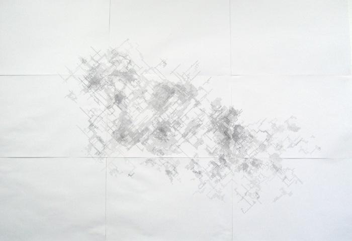 Cartographie de l'ennui - 2011 Stylo à bille sur papier imprimé 210 x 300 cm